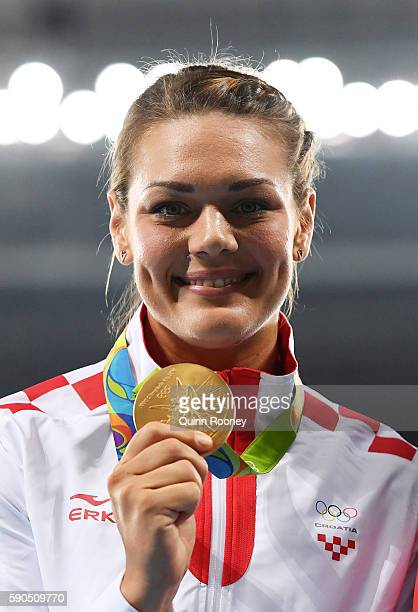 Gold medalist Sandra Perkovic of Croatia poses during the medal ceremony for the Women's Discus Throw Final on Day 11 of the Rio 2016 Olympic Games...