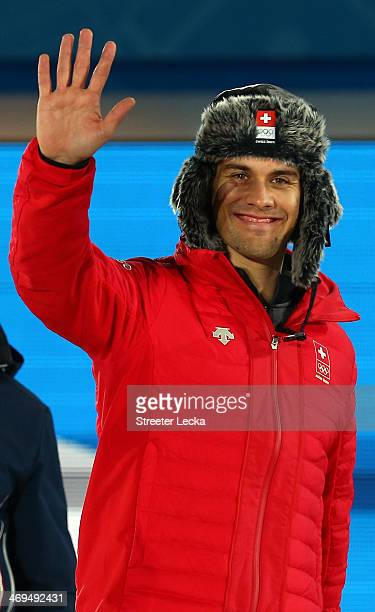 Gold medalist Sandro Viletta of Switzerland celebrates during the medal ceremony for the Alpine Skiing Menfs Super Combined on day 8 of the Sochi...