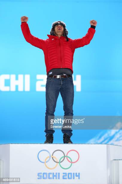 Gold medalist Sandro Viletta of Switzerland celebrates on the podium during the medal ceremony for the Alpine Skiing Men's Super Combined on day 8 of...