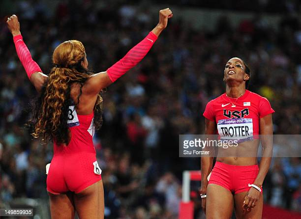 Gold medalist Sanya RichardsRoss of the United States celebrates with bronze medalist DeeDee Trotter of the United States in the Women's 400m Final...