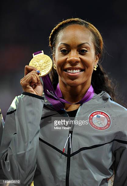 Gold medalist Sanya RichardsRoss of the United States poses on the podium during the medal ceremony for the Women's 400m Final on Day 9 of the London...