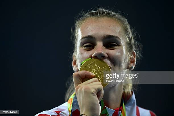 Gold medalist, Sara Kolak of Croatia, poses on the podium during the medal ceremony for the Women's Javelin Throw on Day 14 of the Rio 2016 Olympic...