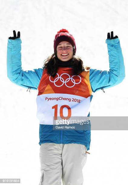 Gold medalist Sarah Hoefflin of Switzerland celebrates on the podium following the Freestyle Skiing Ladies' Ski Slopestyle final on day eight of the...