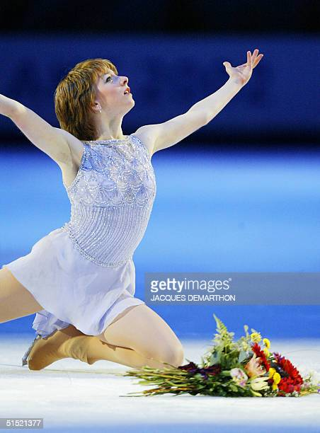 gold medalist Sarah Hughes of US performs in memory of the victimes of the 11th Septembre during her figure skating exhibition at the Olympic Ice...