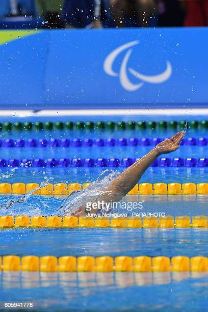 Gold medalist Sarah Louise Rung of Norway competes in the Women's 200m IM SM5 Final on day 8 of the Rio 2016 Paralympic Games at Olympic Aquatics...