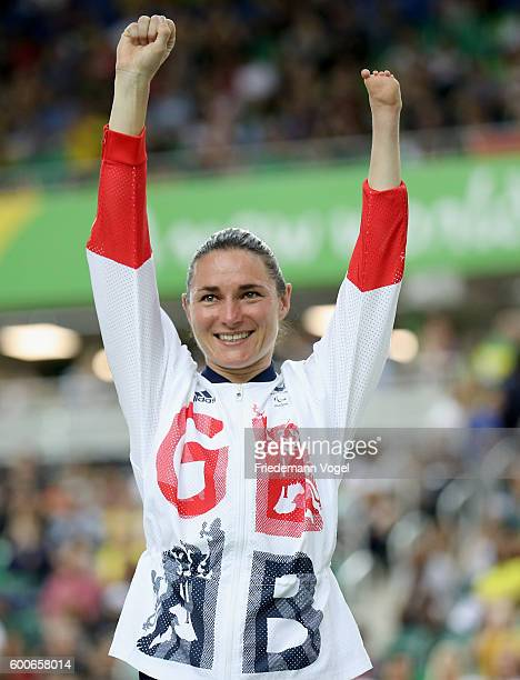 Gold medalist Sarah Storey of Great Britain celebrates on the podium at the medal ceremony for the women's C5 3000m individual pursuit track cycling...