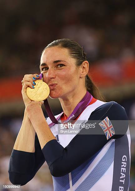 Gold medalist Sarah Storey of Great Britain poses on the podium during the victory ceremony for the Women's Individual C5 Pursuit Cycling on day 1 of...