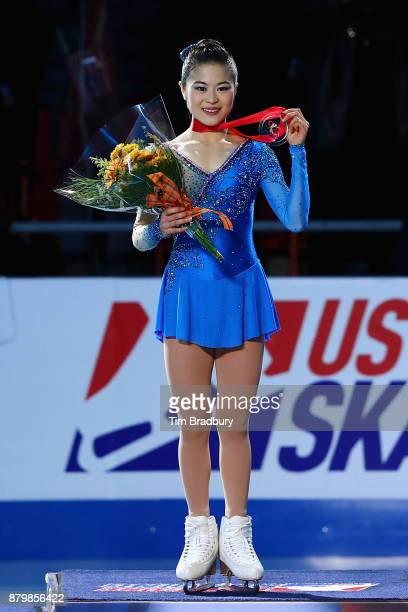 Gold medalist Satoko Miyahara of Japan poses after competing in the Ladies' Free Skate during day three of 2017 Bridgestone Skate America at Herb...