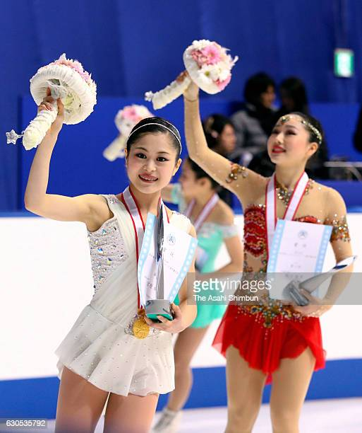 Gold medalist Satoko Miyahara waves to fans after the medal ceremony for the Women's Singles during day four of the 85th All Japan Figure Skating...