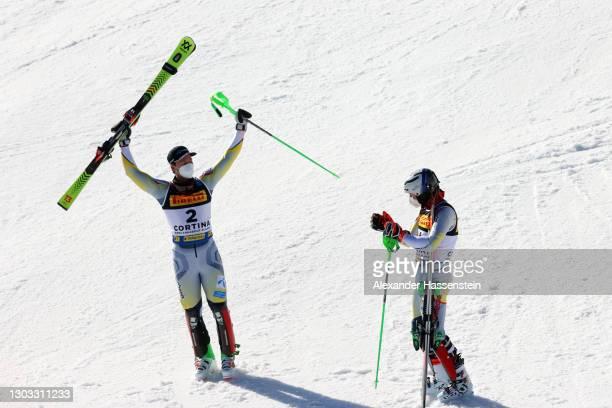 Gold medalist Sebastian Foss-Solevaag of Norway celebrates with bronze medalist Henrik Kristoffersen of Norway following the run in Men's Slalom...