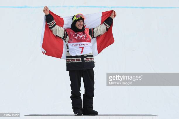 Gold medalist Sebastien Toutant of Canada celebrates during the victory ceremony after the Men's Big Air Final on day 15 of the PyeongChang 2018...