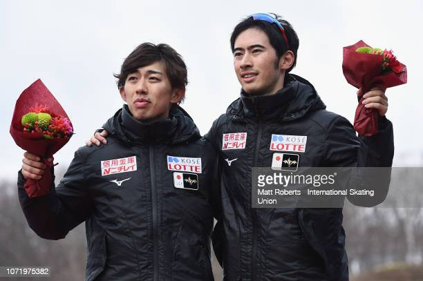 Gold medalist Seitaro Ichinohe of Japan and bronze medalist Rysosuke Tsuchiya of Japan pose during the medal ceremony of the Men's 5000m Division B...