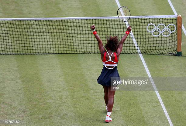 Gold medalist Serena Williams of the United States celerbates after the medal ceremony for the Women's Singles Tennis on Day 8 of the London 2012...