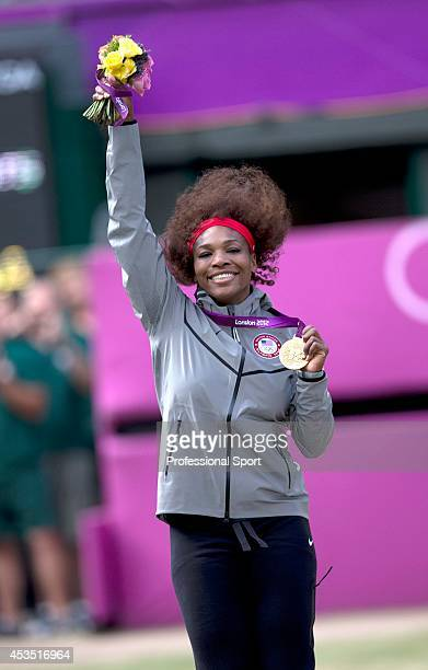 Gold medalist Serena Williams of the United States poses on the podium during the medal ceremony for the gold medal match in the Women's Singles...