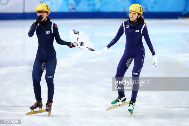 Gold medalist SeungHi Park and bronze medalist Suk Hee Shim of South Korea celebrate in the Short Track Women's 1000m Final A on day fourteen of the...