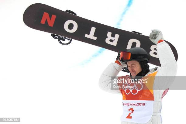 Gold medalist Shaun White of the United States celebrates during Snowboard Men's Halfpipe Final on day five of the Pyeongchang 2018 Winter Olympics...