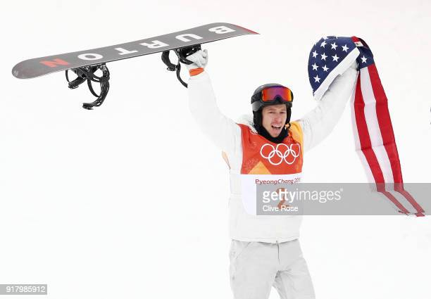 Gold medalist Shaun White of the United States celebrates during the Snowboard Men's Halfpipe Final on day five of the PyeongChang 2018 Winter...