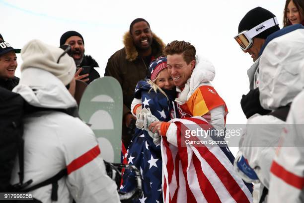 Gold medalist Shaun White of the United States celebrates during the victory ceremony for the Snowboard Men's Halfpipe Final on day five of the...