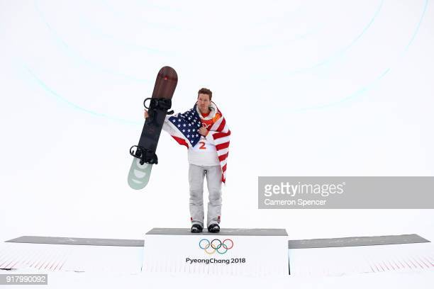 Gold medalist Shaun White of the United States poses during the victory ceremony for the Snowboard Men's Halfpipe Final on day five of the...