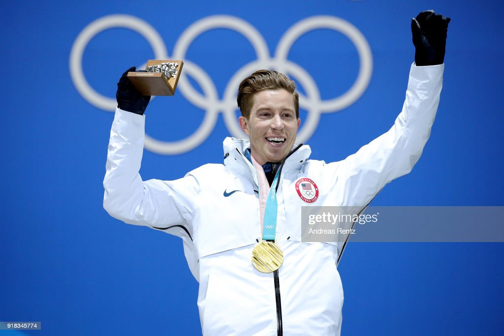 Gold medalist Shaun White of the United States poses during the medal ceremony for the Snowboard Men's Halfpipe Final on day five of the PyeongChang 2018 Winter Olympics at Medal Plaza on February 14, 2018 in Pyeongchang-gun, South Korea.