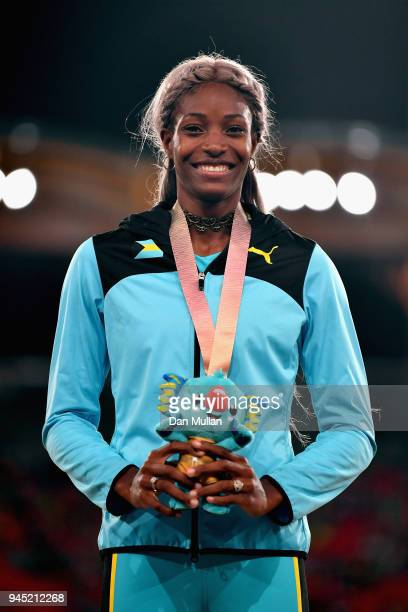Gold medalist Shaunae Miller-Uibo of the Bahamas looks on during the medal ceremony for the Women's 200 metresduring athletics on day eight of the...