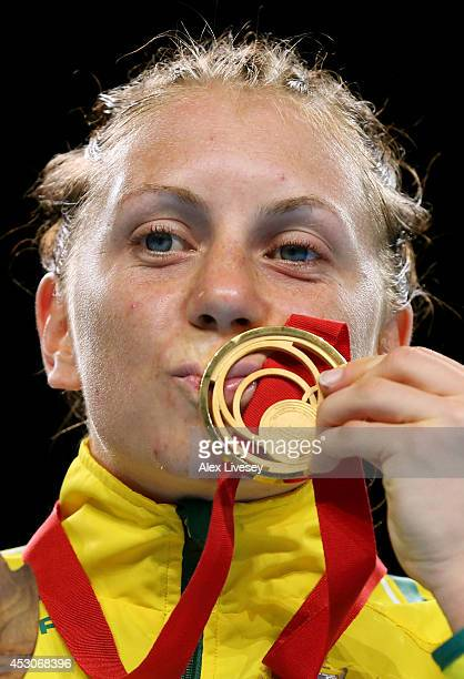 Gold medalist Shelley Watts of Australia poses during the medal ceremony for the Women's Light Final at SSE Hydro during day ten of the Glasgow 2014...