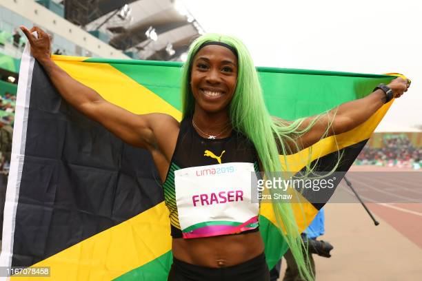 Gold medalist Shelly-Ann Fraser-Pryce of Jamaica celebrates after Women's 200m Final on Day 14 of Lima 2019 Pan American Games at Athletics Stadium...
