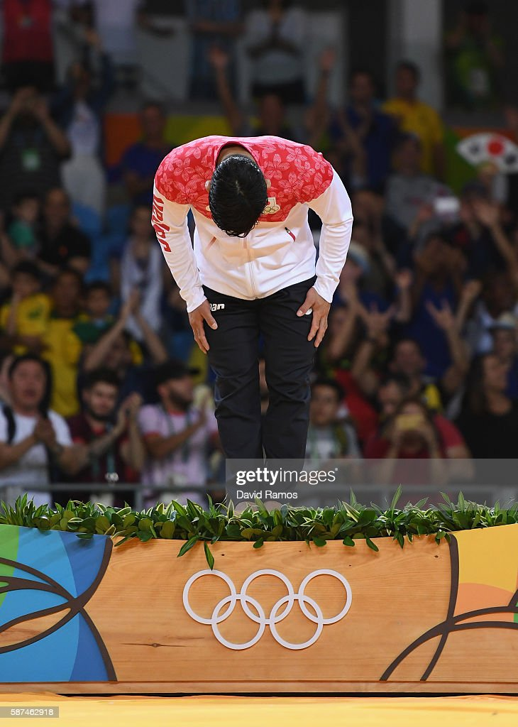 Gold medalist Shohei Ono of Japan bows on the podium after the Men's -73 kg Judo contest on Day 3 of the Rio 2016 Olympic Games at Carioca Arena 2 on August 8, 2016 in Rio de Janeiro, Brazil.