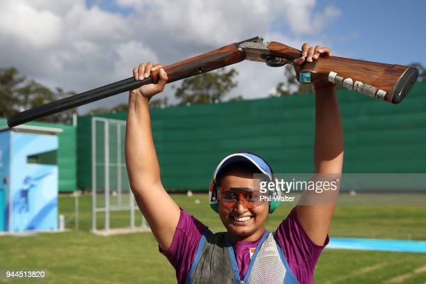 Gold medalist Shreyasi Singh of India celebrates victory in the Women's Double Trap Finals on day seven of the Gold Coast 2018 Commonwealth Games at...