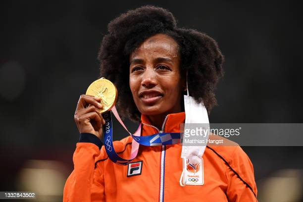 Gold medalist Sifan Hassan of Team Netherlands stands on the podium during the medal ceremony for the Women's 10,000m on day fifteen of the Tokyo...