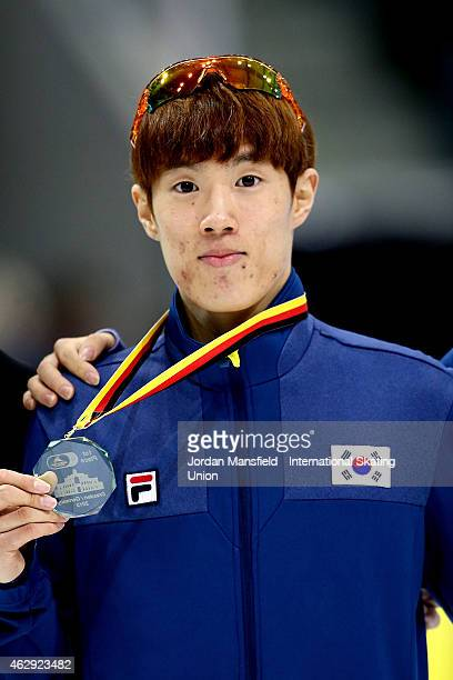 Gold medalist Sin DaWoon of Korea poses for a picture after winning the Men's 1500m final on day 1 of the ISU World Cup Short Track Speed Skating on...