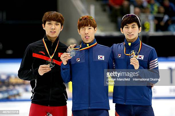 Gold medalist Sin DaWoon of Korea Silver medalist Park Seyeong of Korea and Bronze medalist Chen Dequan of China pose for a picture after winning the...