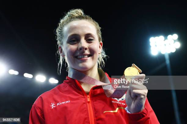 Gold medalist Siobhan Marie O'Connor of England poses during the medal ceremony for the Women's 200m Individual Medley Final on day four of the Gold...