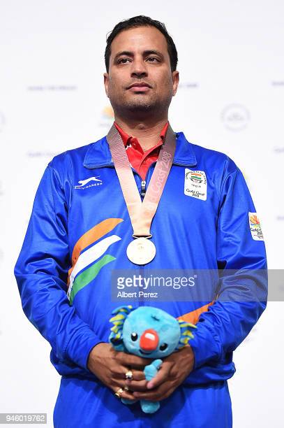 Gold medalist Snajeev Rajput of India poses after winning the Men's 50m Rifle 3P final during Shooting on day 10 of the Gold Coast 2018 Commonwealth...