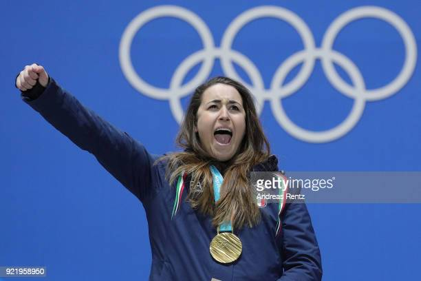 Gold medalist Sofia Goggia of Italy celebrates during the medal ceremony for the Ladies' Downhill on day twelve of the PyeongChang 2018 Winter...