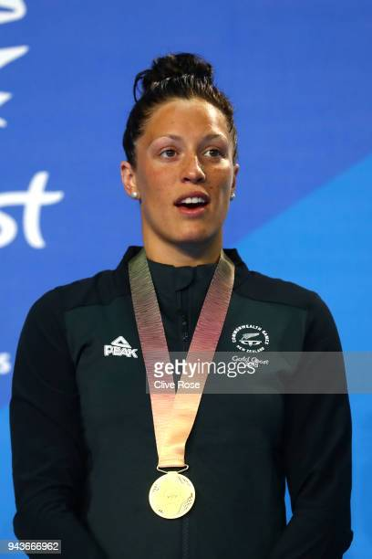 Gold medalist Sophie Pascoe of New Zealand poses during the medal ceremony for the Women's SB9 100m Breaststroke Final on day five of the Gold Coast...
