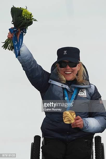 Gold medalist Stephani Victor of USA celebrates at the medal ceremony for the Women's Sitting Super Combined during Day 9 of the 2010 Vancouver...