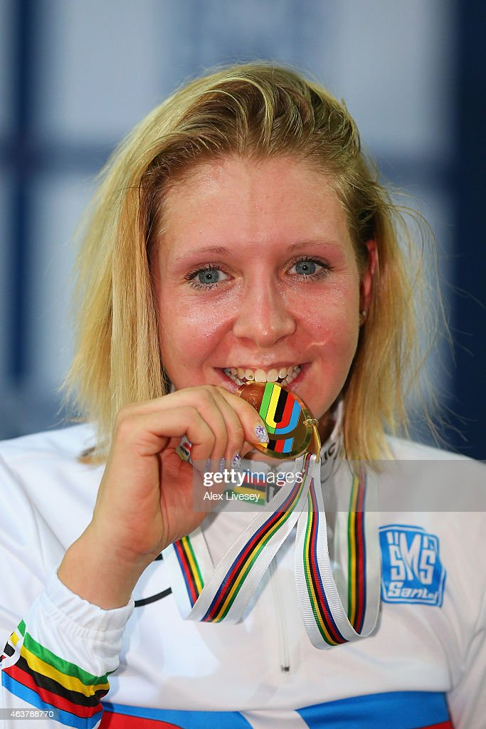 Gold medalist Stephanie Pohl of Germany poses on the podium during the medal ceremony for the Women's Points Race Final during day one of the UCI Track Cycling World Championships at the National Velodrome on February 18, 2015 in Paris, France.