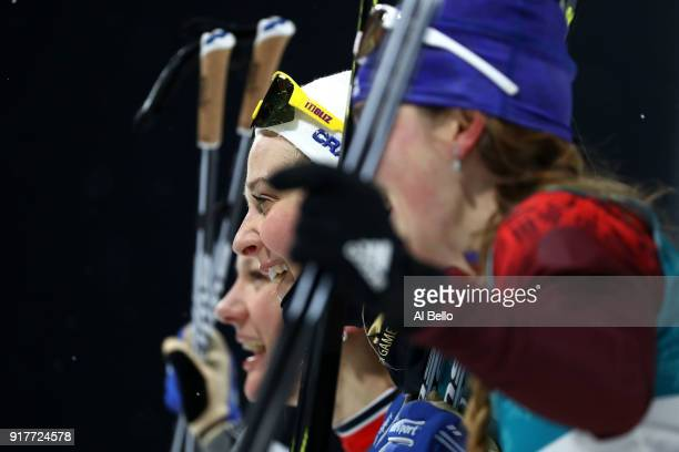 Gold medalist Stina Nilsson of Sweden celebrates during the CrossCountry Ladies' Sprint Classic Final on day four of the PyeongChang 2018 Winter...