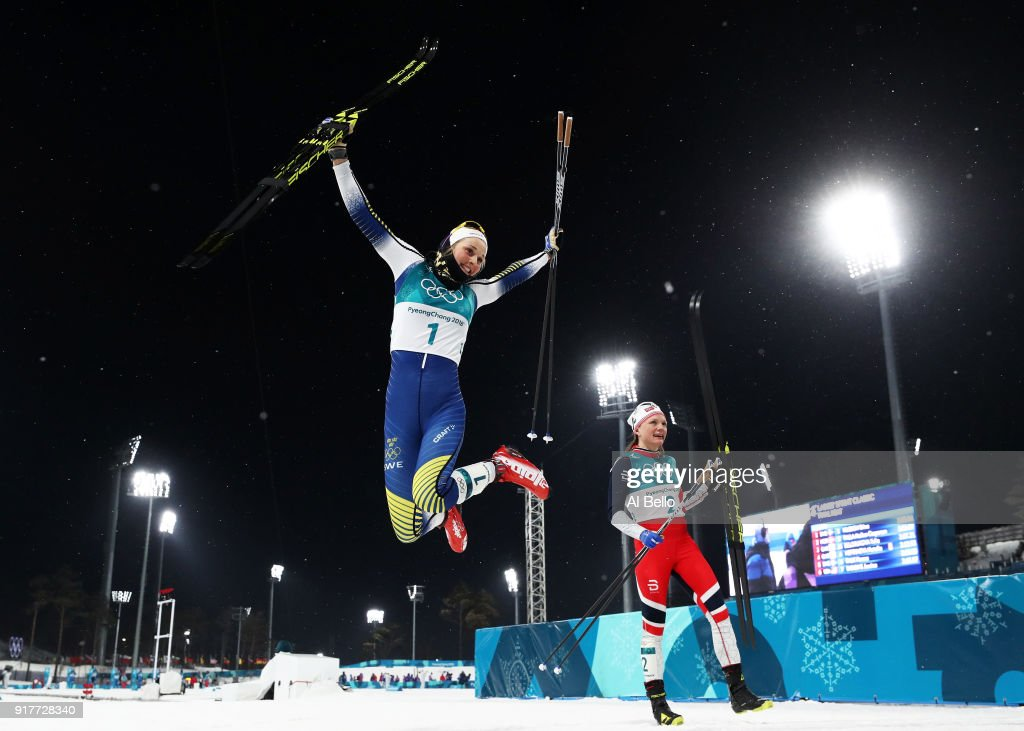 Gold medalist Stina Nilsson of Sweden celebrates winning during the Cross-Country Ladies' Sprint Classic Final on day four of the PyeongChang 2018 Winter Olympic Games at Alpensia Cross-Country Centre on February 13, 2018 in Pyeongchang-gun, South Korea.