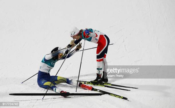 Gold medalist Stina Nilsson of Sweden celebrates with silver medalist Maiken Caspersen Falla of Norway during the CrossCountry Ladies' Sprint Classic...