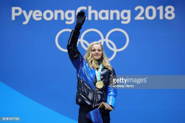 Gold medalist Stina Nilsson of Sweden poses during the medal ceremony for the CrossCountry Ladies' Sprint Classic on day five of the PyeongChang 2018...