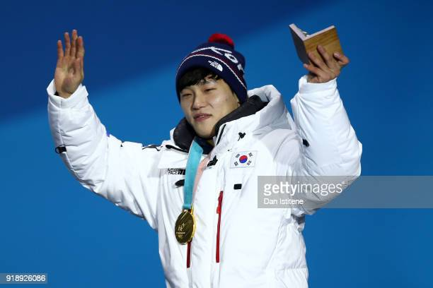 Gold medalist Sungbin Yun of Korea celebrates during the Medal Ceremony for Skeleton Men on day seven of the PyeongChang 2018 Winter Olympic Games at...