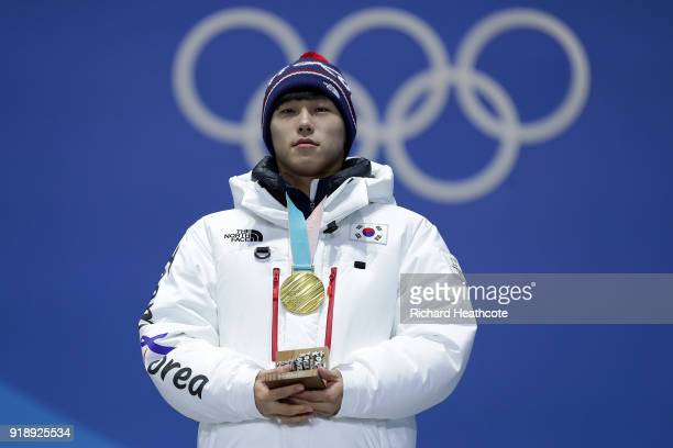 Gold medalist Sungbin Yun of Korea stands during the Medal Ceremony for Skeleton Men on day seven of the PyeongChang 2018 Winter Olympic Games at...