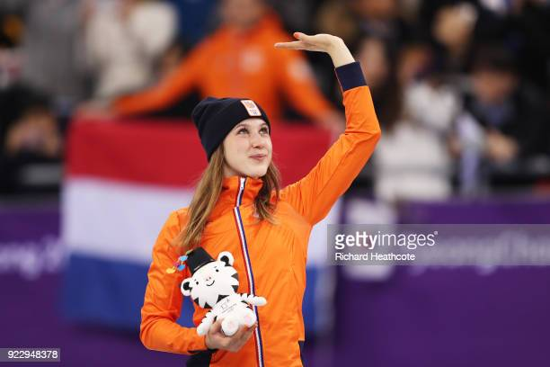 Gold medalist Suzanne Schulting of the Netherlands celebrates during the victory ceremony after the Short Track Speed Skating Ladies' 1000m Final A...