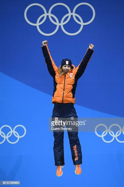 Gold medalist Suzanne Schulting of the Netherlands celebrates during the medal ceremony for Short Track Speed Skating Ladies' 1000m on day 14 of the...