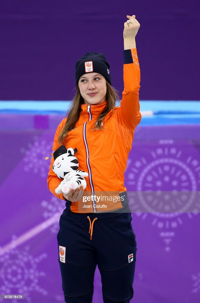 Gold medalist Suzanne Schulting of the Netherlands celebrates during ceremony following the Short Track Speed Skating Women's 1000m Final A on day thirteen of the PyeongChang 2018 Winter Olympic Games at Gangneung Ice Arena on February 22, 2018 in Gangneung, South Korea.