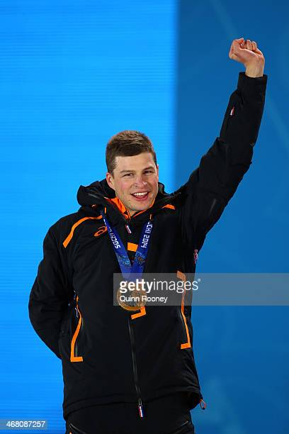 Gold medalist Sven Kramer of the Netherlands celebrates during the medal ceremony for the Men's 5000m Speed Skating on day 2 of the Sochi 2014 Winter...