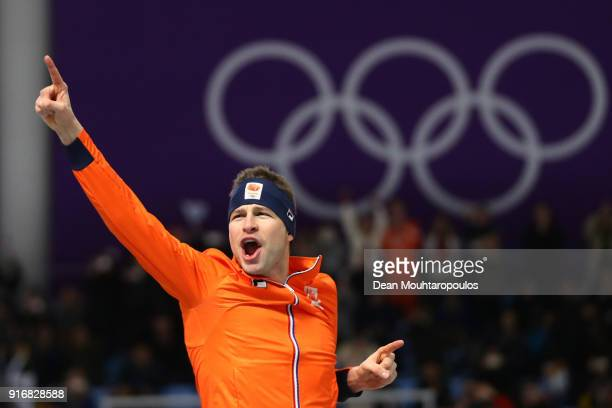 Gold medalist Sven Kramer of the Netherlands celebrates during the victory ceremony after the Men's 5000m Speed Skating event on day two of the...