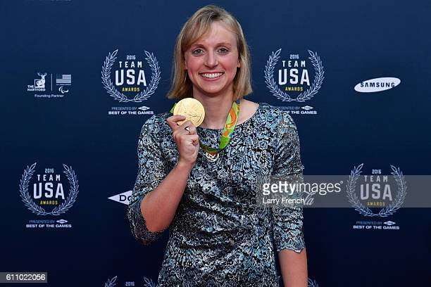 Gold medalist swimmer Katie Ledecky poses for a photo on the red carpet during the Team USA Awards presented by Dow, Best of the Games at McDonough...